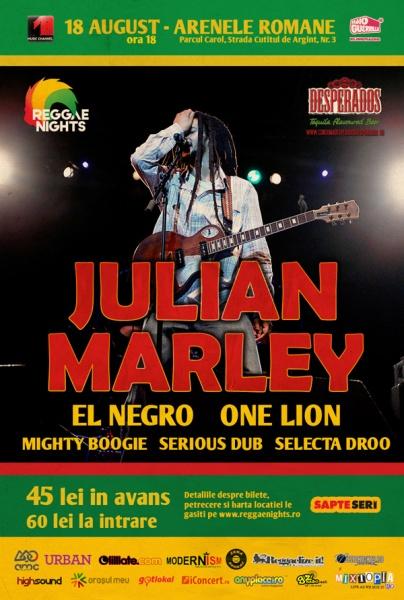 Julian Marley,Reggae Nights, bilete, arenele romane, bucuresti