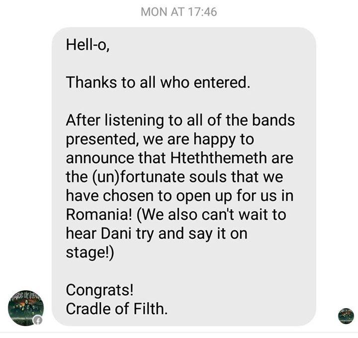 Hteththemeth vor cânta alături de Cradle of Filth şi Ne Obliviscaris la Cluj Napoca